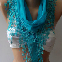 Blue - Cotton Shawl / Elegance Shawl / Scarf with Lace Edge..