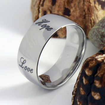 Couples Ring Unisex Promise Ring - Grow, Faith, Hope, Love, Peace Purity Ring Infinity Gift - TZARO
