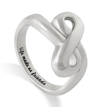 "Friends Infinity Ring, Promise Ring Double Infinity Symbol Ring ""Life Made Us Friends "" Engraved on Inside Best Gift for Friend"