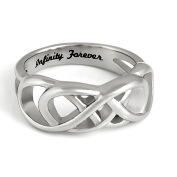 "Infinity Ring, Promise Ring Double Infinity Symbol Ring ""Infinity Forever"" Engraved on Inside"