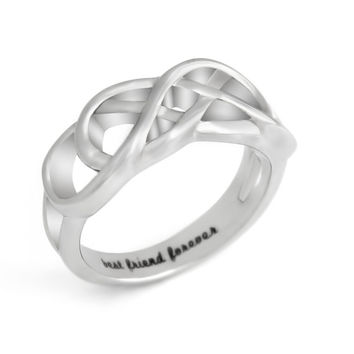"Friends Infinity Ring, Promise Ring Double Infinity Symbol Ring ""Best Friend Forever"" Engraved on Inside Best Gift for Friend"