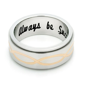 """Spinner Ring - Promise Ring, Delicate Ring Engraved on Inside with """"Always Be Successful"""", Sizes 6 to 9"""