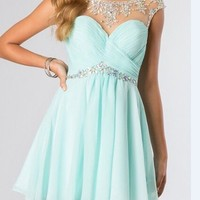 Beaded Short Chiffon Formal Bridesmaid Party Gown Prom Cocktail Homecoming Dress