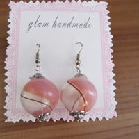 Pink Blown Glass Bead Earrings