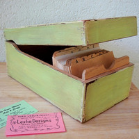 Vintage WOOD FILE BOX with Index Cards-  Lime Green