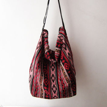 hippie crossbody  bag, hobo messenger bag,aztec women boho bag, tribal crossbody, boho native american school bag