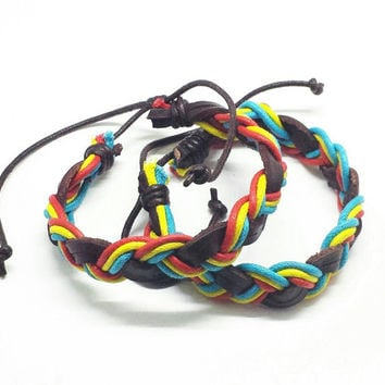 Brown Triple Colored Rasta Braided Leather Bracelet