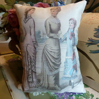 Vintage Print  Fashionable Ladies w Child Small Cushion