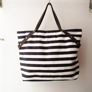 stripes canvas tote bag ,weekender bag ,shopping tote bag  with leather handles, beach tote,shoulder bag  bridesmaid gift