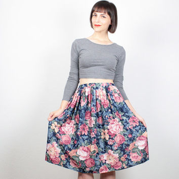 Vintage Midi Skirt 1980s Navy Blue Pink Tan Floral Print Skirt Pleated Skirt Knee Length Skirt 80s Skirt Cabbage Rose Skirt M Medium L Large