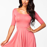 3/4 Sleeve Cross Back Skater Dress