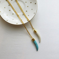 Ivory or Turquoise and Gold Tusk Horn Pendant Necklace - Long layering chains gold and white stone delicate statement jewelry, boho, tribal