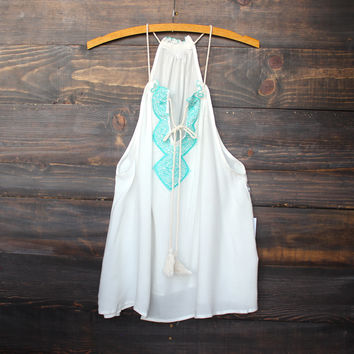 tribal embroidered tank | mint FINAL SALE