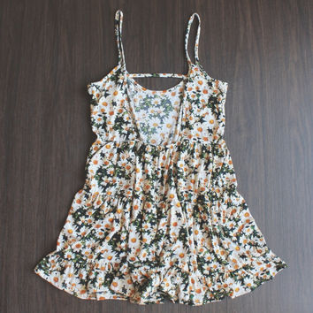 Open back daisy baby doll | Ivory FINAL SALE