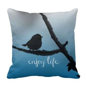 Single Bird on Branch with Enjoy Life Quote