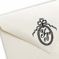 Bow Ribbon Oval Frame Monogram Initials Personal or Wedding Pre-Inked Stamp - 9 Colors Available