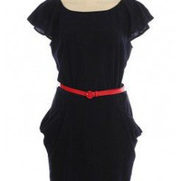 BELTED WOVEN DRESS WITH ZIPPER BACK CLOSURE @ KiwiLook fashion