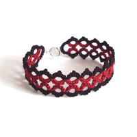 Black, Red Lace Bracelet in Tatting - Marie