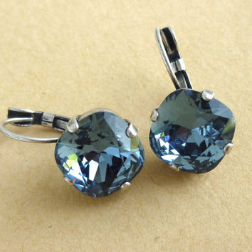 Swarovski crystal earrings, 12mm square cut, golf size, denim blue, lever-back, designer inspired GREAT PRICE