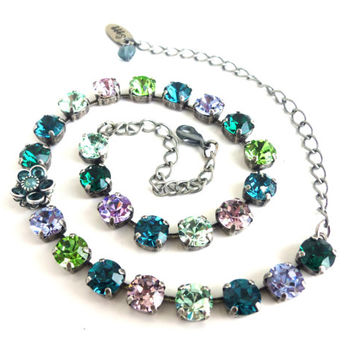 Swarovski crystal necklace, 8mm blue, green, purple, flower accent, Designer inspired Siggy bling