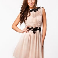 LACE DETAL CHIFFON DRESS - Sleeveless nude lace chiffon dress by LITTLE MISTRESS