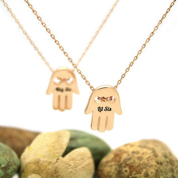 "Gold Lil Sister Necklace, Gold Hamsa Necklace, Sister Charm with 18""chains - TZARO"