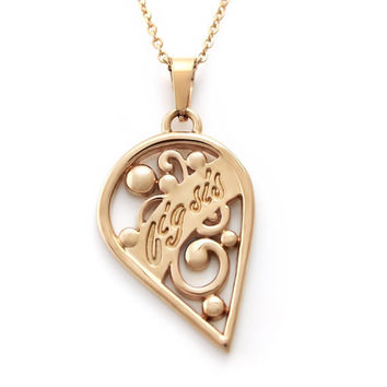 """Half Heart Necklace - Big Sis Necklace Engraved with """"Big Sis"""", 18"""" Chains Included"""