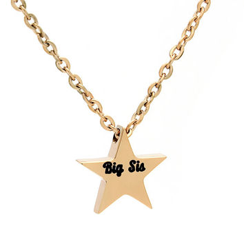 "Big Sister Necklace - Star Necklace Engraved with ""Big Sis"",18"" Chains Included"