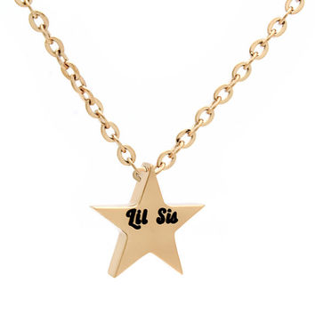 "Lil Sister Necklace - Star Necklace Engraved with ""Lil Sis"",18"" Chains Included"