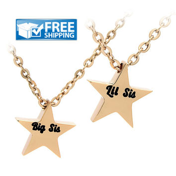 Sister Star Necklace, Big Sister Little Sister Necklace, Gold Star Pendant
