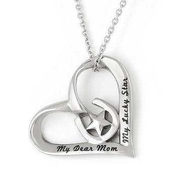 """Mother Heart Necklace Mom Horse Shoe Neckalce,  """"My Dear Mom My Lucky Star""""  Perfect gift 18"""" Chain Included"""
