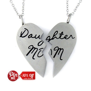 """Heart Necklace Set (2pcs) - Daughter Mother Necklaces Engraved with """"Daughter MOM"""", 18"""" Chains Included"""