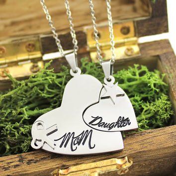 """Heart Necklace Set (2pcs) - Daughter Mother Necklaces Engraved with """"Mom"""" and """"Daughter"""", 18"""" Chains Included"""
