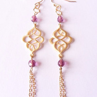 dangling earrings, beaded earrings, purple beads earrings, oriental earrings, tassel earrings by SABOTAGEancCO