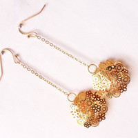 Flower earrings, filigree earrings, dangle earrings, gold plated earrings by SABOTAGEandCO