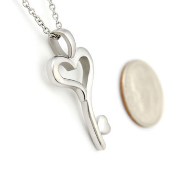 """Key From The Heart Necklace Heart Necklace Key Perfect Lovers gift 18"""" Chains Included"""