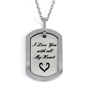 """Love Necklace, Lovers Necklace """"I Love You With All My Heart"""" Engraved, Perfect gift 18"""" Chains Included"""