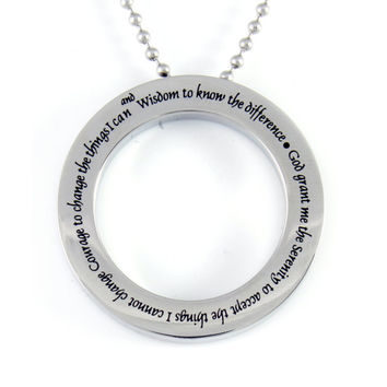 """Necklace God Grand Me The Serenity, Circle Serenity Pendant Perfect gift 18"""" Chains Included"""