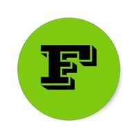 Capital Letter F Small Green Stickers by Janz