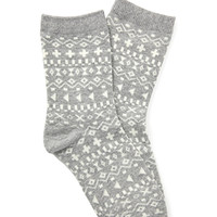 Tribal Print Crew Socks