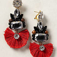 Tejo Fringed Drops by Rada Red One Size Earrings