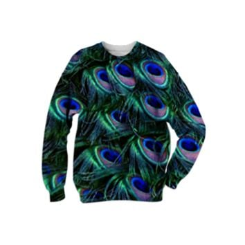 Peacock Feather Sweatshirt created by ErikaKaisersot | Print All Over Me