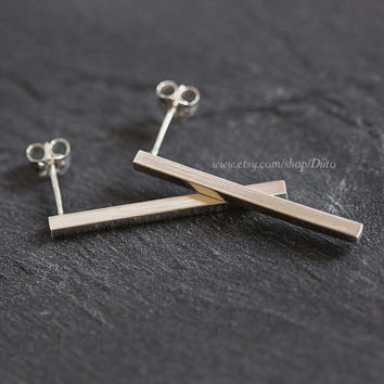Sterling Silver, Long Bar Earrings, Studs, Stud Earrings, Sterling Silver jewelry, Minimalist Jewelry, Simple Earrings, Ready to Ship!