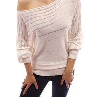 PattyBoutik Cotton Blend Boat Neck Semi-fitted Ribbed Casual Pullover Sweater