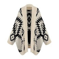 zoeKISS Women's Aztec Open Sweater Beige