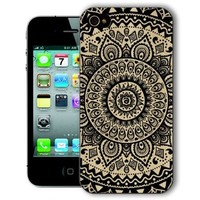 ChiChiC Iphone Case, i phone 4 4g 4s case,Iphone4 iphone4g iphone4s covers, plastic cases back cover skin protector, geometric black mandala wood grain