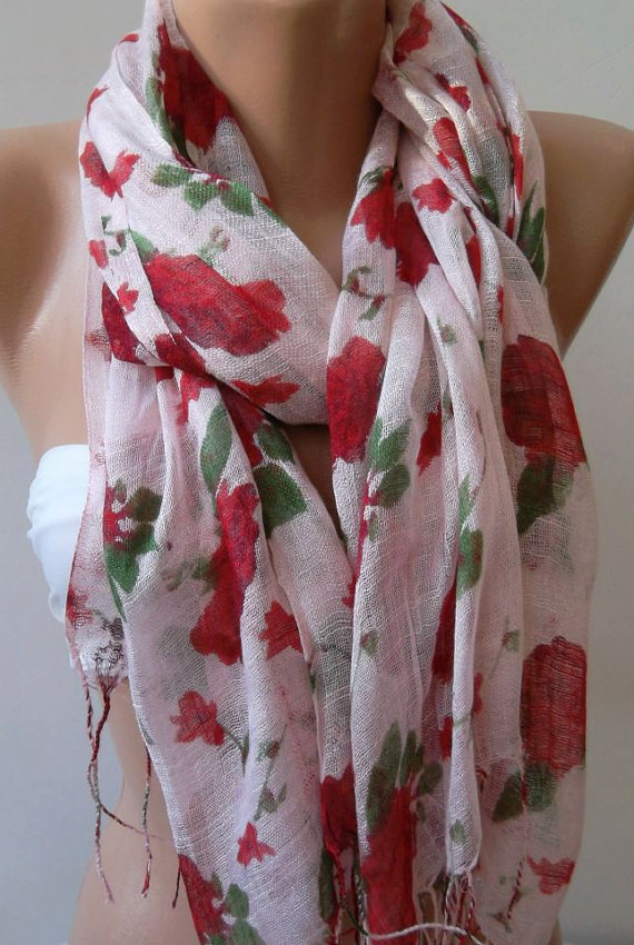 Red  Flowers   -- Elegance Shawl - Scarf-------soft and light,,,