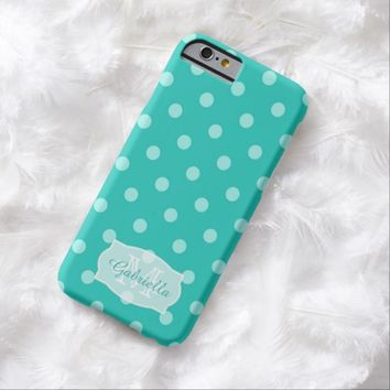 Bluish green PolkaDot: Personalized: iPhone 6 case