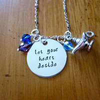 """Aladdin Inspired Necklace """"Let Your Heart Decide"""" Aladdin & Princess Jasmine. A Whole New World. Hand Stamped, Swarovski crystals Magic lamp"""