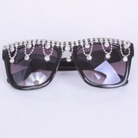 Black Rhinestone Trim Tinted Lens Sunglasses
